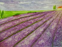 Haus, Blumen, Lavendel, Baum