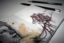 Herz, Realismus, Tuschmalerei, Mädchen