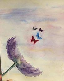 Blumen, Wind, Schmetterling, Aquarell