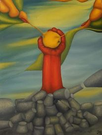 Hand, Ölmalerei, Malerei, Zitrone