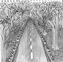 Schwarzweiß, Zeichnungen, Straße