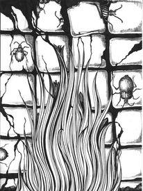Kachel, Schwarz weiß, Käfer, Pflanzen