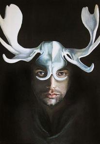 Geweih, Portrait, Schwarz, Tiere