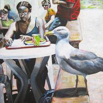 Menschen, Acrylmalerei, Urlaub, Sommer