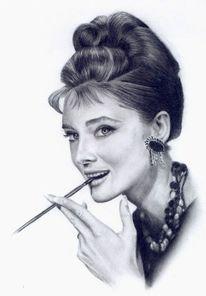 Audrey hepburn portrait, Zeichnungen, Hepburn