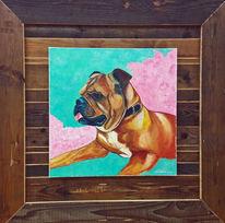 Bulldogge, Acrylmalerei, Portrait, Malerei