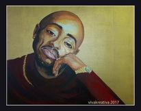 Rapper, Gold, Acrylmalerei, Mann
