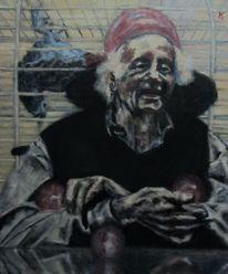 Papagei, Portrait, Clown, Rollstuhl