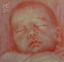 Baby, Rosa, Malerei, Schlaf