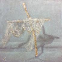 Kreuz, Tuch, Seidener faden, Malerei