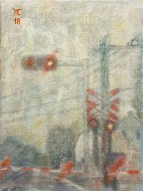 Straße, Nebel, Licht, Malerei