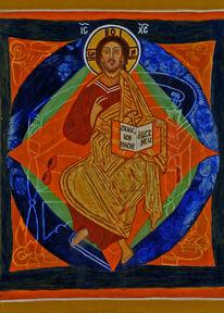 Jesus, Pantokrator, Allerheiligen, Temperamalerei
