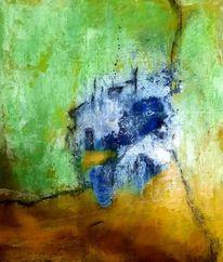 Vorsichtig, Temperamalerei, Blau, Mischtechnik