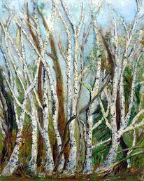 Natur, Baum, Birken, Malerei