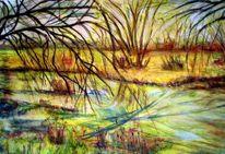 Landschaft, Herbst, Wasser, Fluss