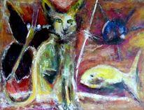 Begegnung, Katze, Freunde, Expressionismus