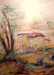 Haus, Landschaft, Aquarell