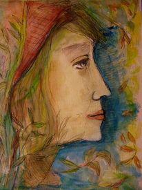 Natur, Farben, Blätter, Frau