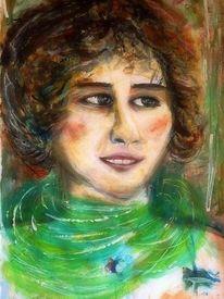 Grün, Ausdruck, Frau, Portrait