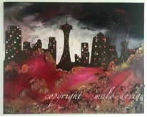 Acrylmalerei, Abstrakt, Skyline, Rot