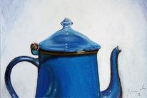 Kreidezeichnung, Pastellmalerei, Blau, Malerei