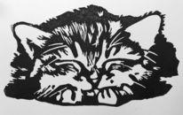 Hochdruck, Katze, Linolschnitt, Druckgrafik