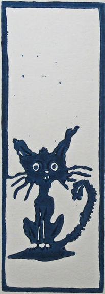 Katze, Linoldruck, Hochdruck, Blockprint