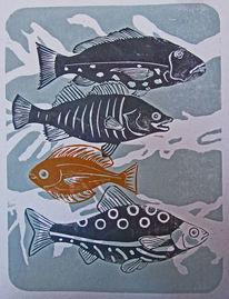 Fische, Linoldruck, Hochdruck, Druckgrafik