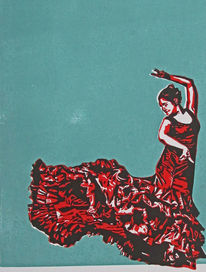 Spanien, Blockprint, Hochdruck, Flamenco
