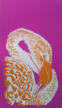 Flamingo, Siebdruck, Warme farben, Druckgrafik