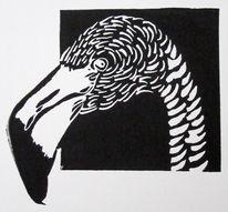 Scwarz, Linolschnitt, Linolcut, Druckgrafik