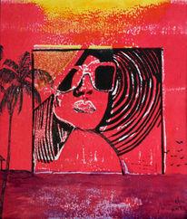 Frau, Monotypie, Karibik, Druckgrafik