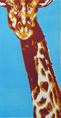Afrika, Linolschnitt, Giraffe, Hochdruck