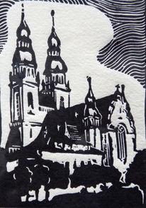 Kirche, Linolschnitt, Hochdruck, Speyer
