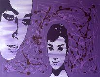 Audrey hepburn, Lila, Frau, Pop art
