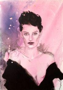 Lila, Schwarz, Portrait, Malerei