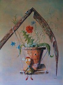 Stoffpuppe, Vergänglichkeit, Blumen, Gefühl