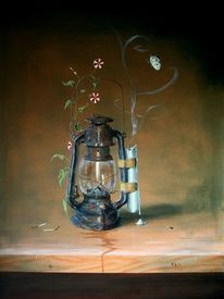 Petroliumlampe, Streichhölzer, Schmetterling, Wespe