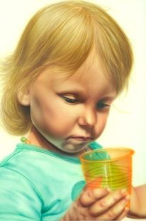 Leer, Kinderportrait, Becher, Blond