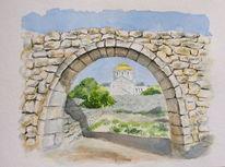 Krim, Aquarellmalerei, Hersones, Gemälde