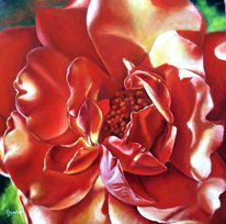 Rot, Ölmalerei, Rose, Gemälde