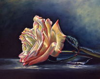 Ölmalerei, Stillleben, Gelb, Rose
