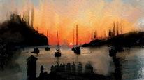 Abschied, Sonnenuntergang, Malerei, Digitale malerei