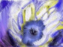 Kornblumen, Schnee, Malerei, Blumen