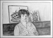 Schürze, Zeichenkarton, Dederon, Zeichnungen