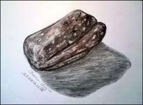Stein, Kohlezeichnung, Skizze, Radiergummi