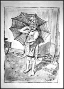 Bleistiftzeichnung, Mädchen, Schirm, Sonne