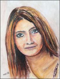 Wasserfarben, Portrait, Haarlack, Acrylmalerei