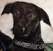 Ölmalerei, Sepia, Hundekopf, Kumpel
