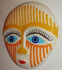 Stein, Gesicht, Maske, Plastik
